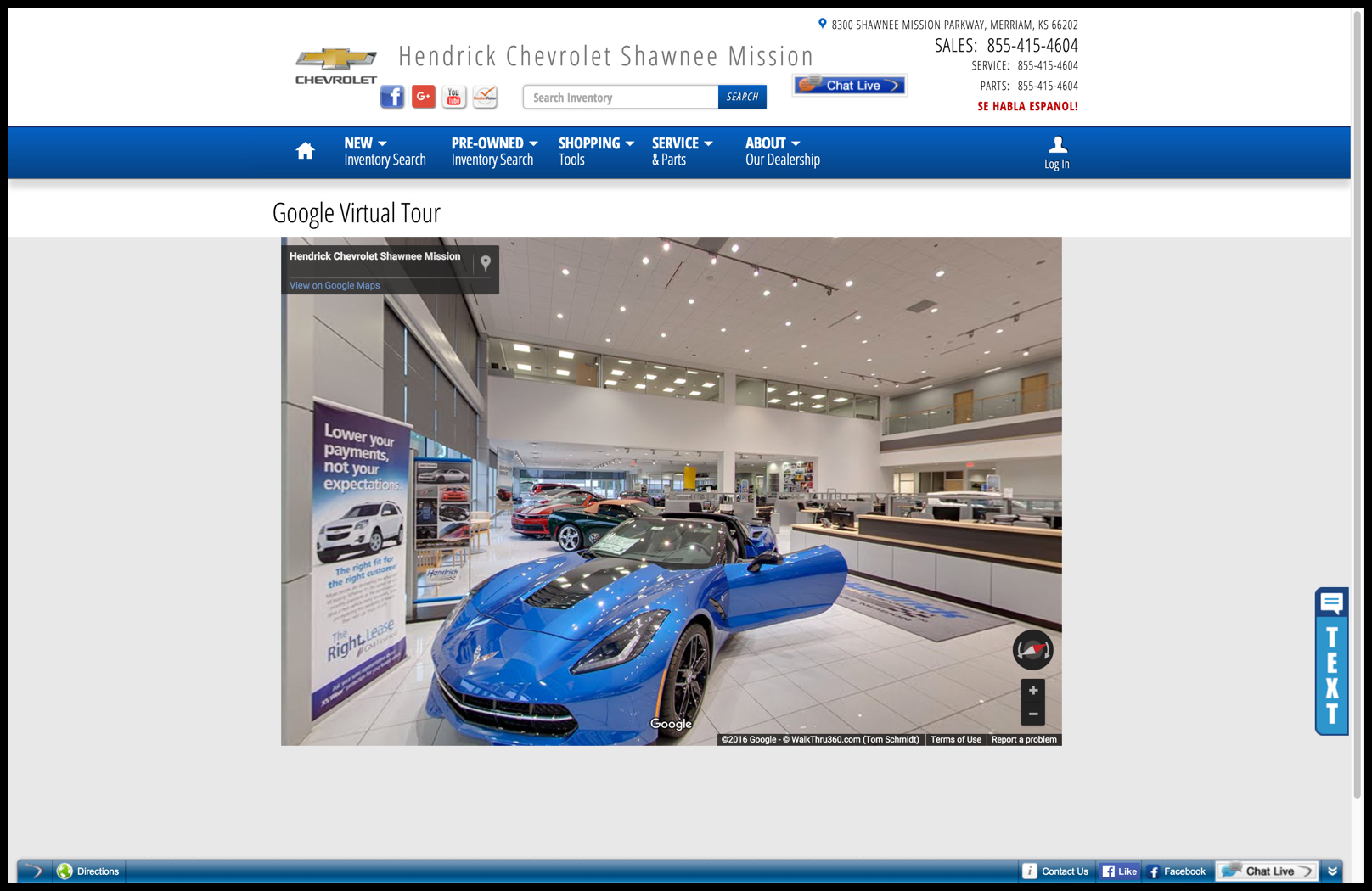 Perfect Virtual Tour Embedded On The Hendrick Website