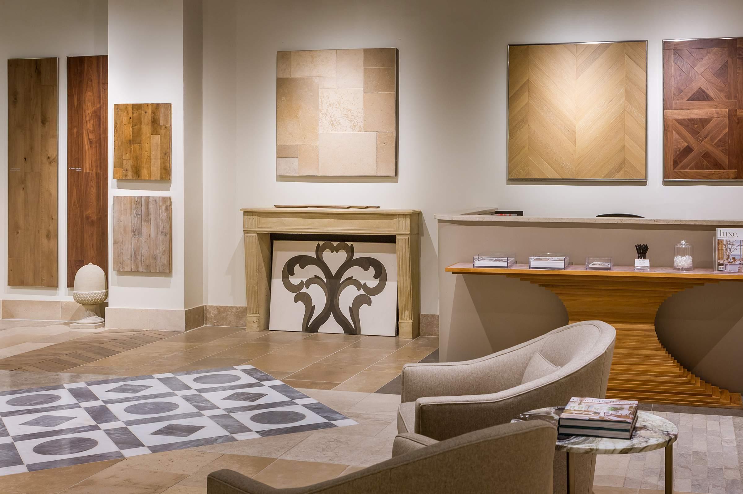 lounge area at paris ceramics luxury home furnishings showroom chicago