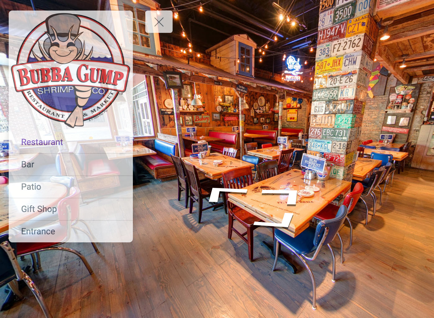 restaurant virtual tour with custom navigation